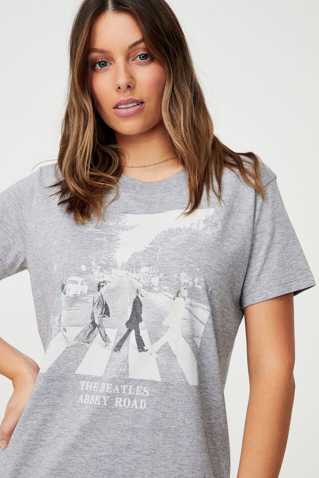 Classic Band T Shirt - Grey Marle, LCN APP BEATLES WALK/GREY MARLE