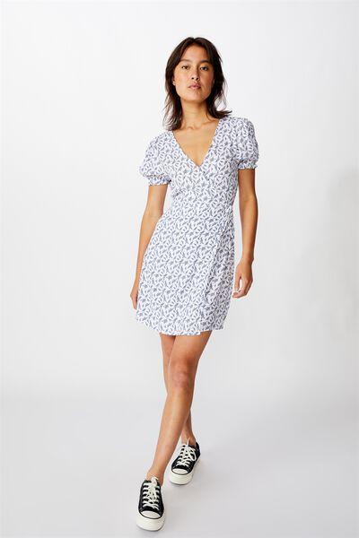 Woven Amy Wrap Mini Dress, JENNY LEAF WHITE