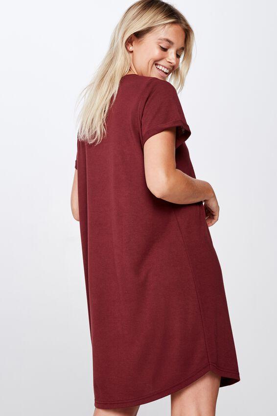Tina Tshirt Dress 2, RED MAHOGANY