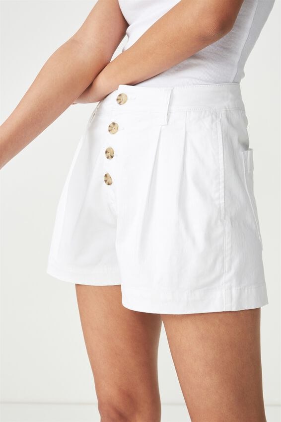 Button Front Short, WHITE