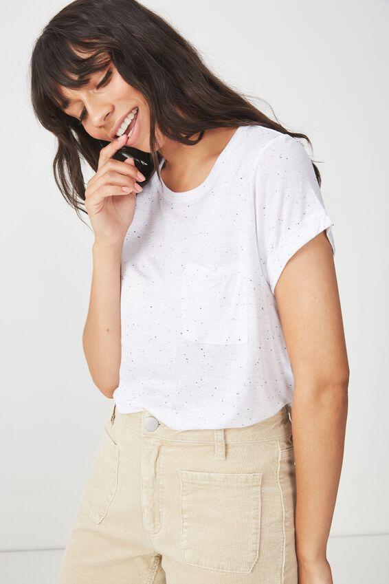 Kathleen Short Sleeve Top, WHITE/BLACK NEP