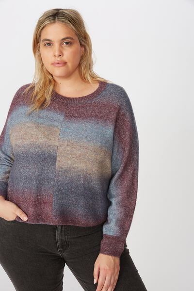 Curve Serena Cropped Batwing Pullover, BLUE OMBRE