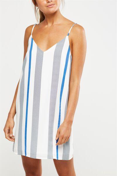 Woven Margot Slip Dress, ADELE STRIPE MONACO BLUE