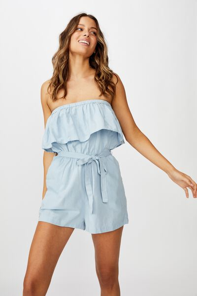 Woven Marley Off The Shoulder Playsuit, CHAMBRAY