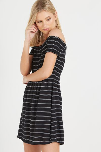 Lindi Off The Shoulder Dress, BLACK/WHITE/NUDE PINK LIN STRIPE