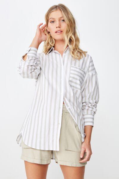 Piper Oversized Shirt, KATIE STRIPE GOTHIC OLIVE