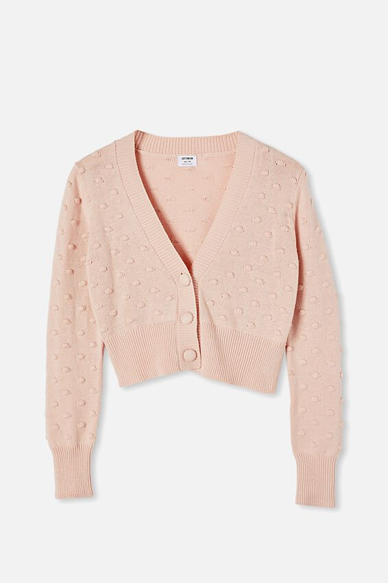 Knobbly Cropped Cardi, BLOSSOM