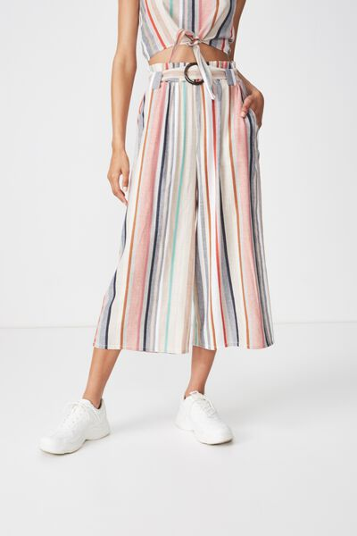 High Waist Culotte, MULTI SUMMER STRIPE BUCKLE