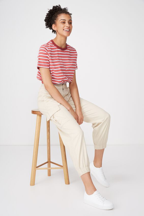 Ivy Short Sleeve Waisted Top, GRACE STRIPE ROSE PETAL/WHITE/ROSEWOOD