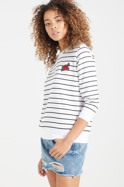 Fergi Graphic Fleece, ROSE STRIPE/WHITE