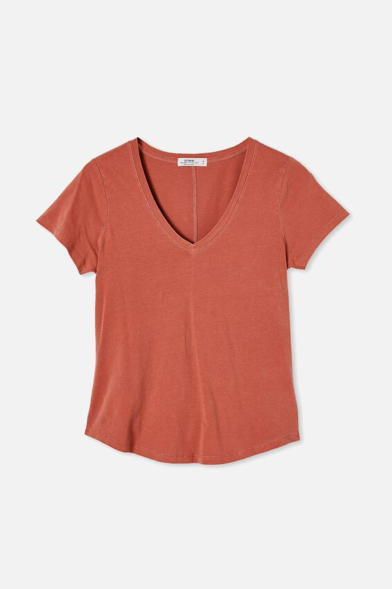 The One Fitted V Tee, WASHED RED CLAY