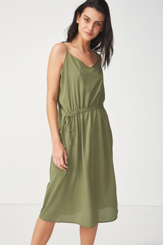 Woven Mimi Rouched Midi Dress, SOFT KHAKI