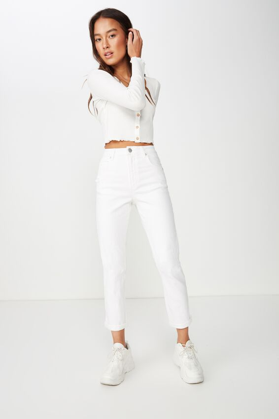 Stretch Mom Jean, WHITE RIPS