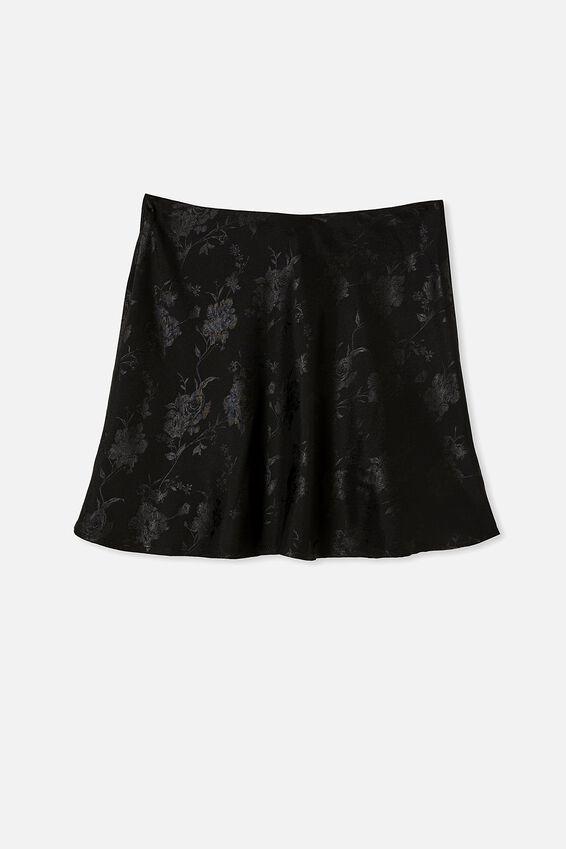 Simple Slip Mini Skirt, BLACK FLORAL JACQUARD