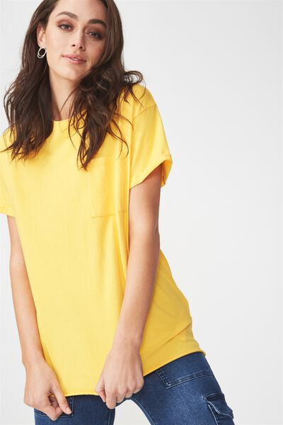 The One Boyfriend Pocket Tee, BUTTERCUP