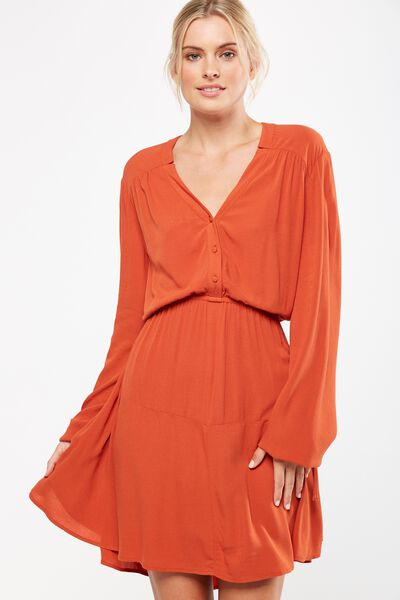 Woven Shania Long Sleeve Dress, FIREBALL