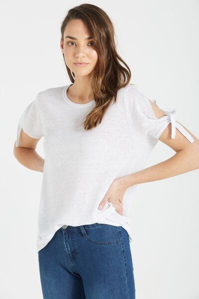 Wendy Cut Out Shoulder Top, WHITE