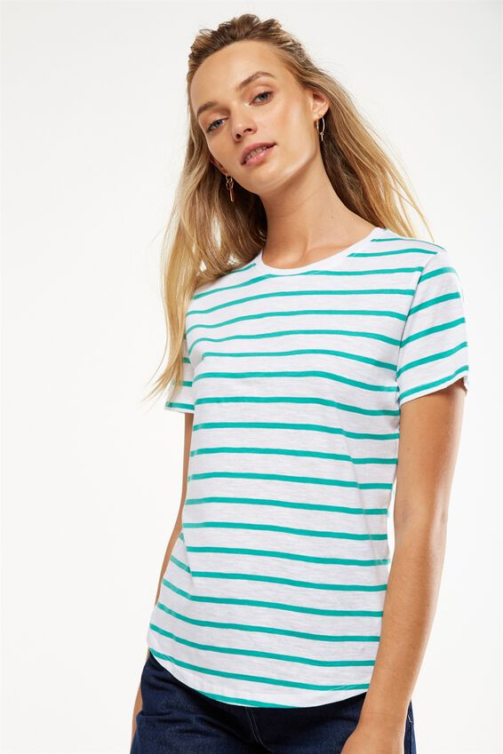The Crew T Shirt, JACK STRIPE WHITE/SEA GREEN