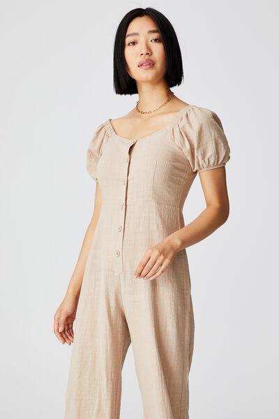 Woven Petite Juni Puff Sleeve Jumpsuit, LATTE