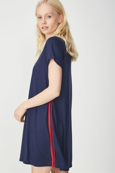 Tina Tshirt Dress 2, SPACE NAVY WITH SIDE STRIPE