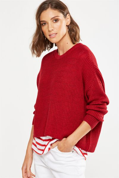 Archy Cropped Pullover, CHERRY RED TWIST