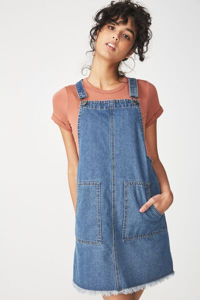 Denim Pinafore Dress, BOHO BLUE