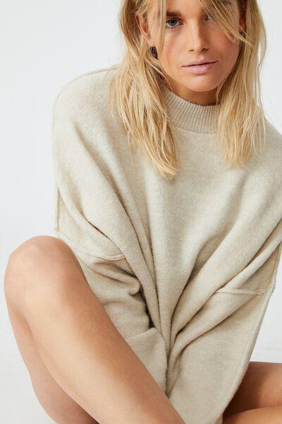 Luxe Fine Gauge Mock Neck Pullover, PARCHMENT