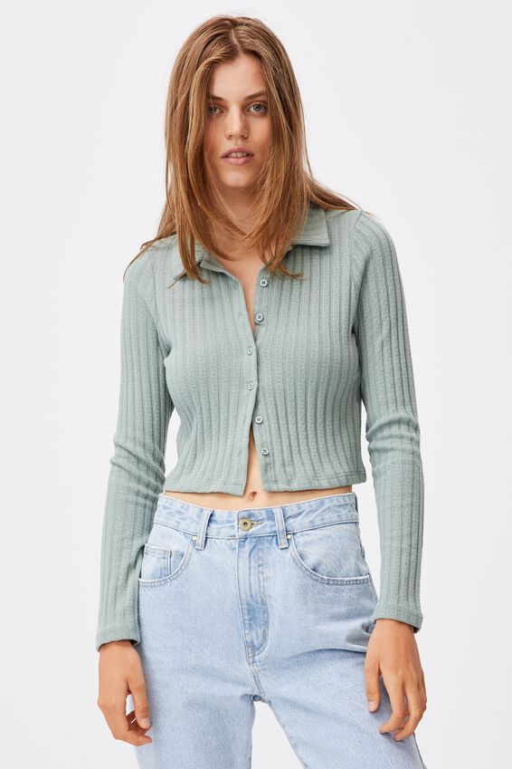 Renee Rib Polo Long Sleeve Top, JADE