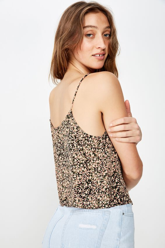 Astrid Cropped Scoop Neck Cami, HELENA DITSY BLACK