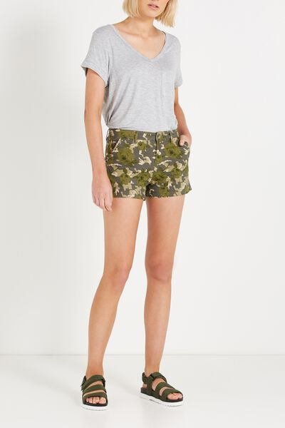 The Slant Pkt Chino Short, ROSE CAMO UNCUFFED