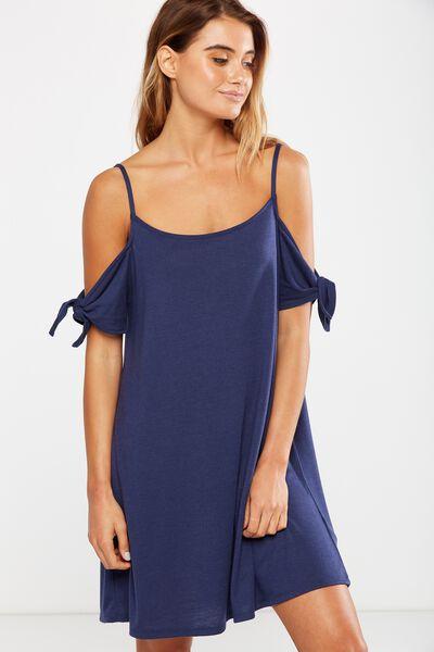 Sanza Cold Shoulder Dress, NAVY