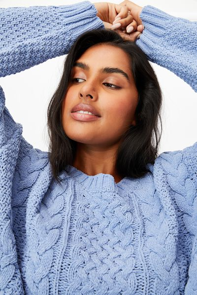 Curve Chenille Pullover, AIR BLUE