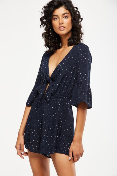 woven anissa 3/4 sleeve knot front romper, MINI STAR TOTAL ECLIPSE
