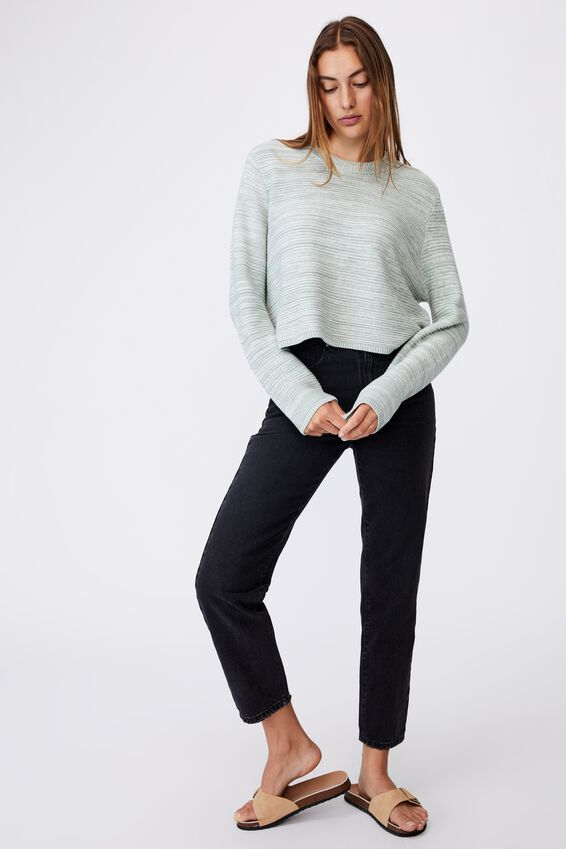 Cotton Cropped Pullover, JADE WHITE TWIST