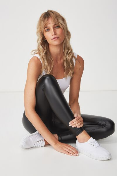 Tranquil Legging, BLACK PU COATED