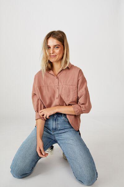 Oversize Drop Shoulder Shirt, WASHED OLD ROSE