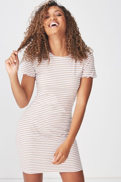 Gracie Lettuce Edge Tshirt Dress, MILLY STRIPE LATTE