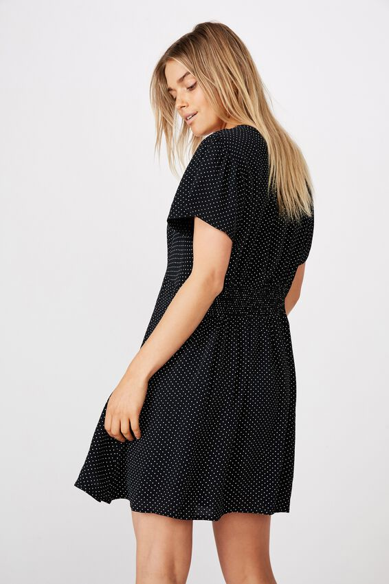 Woven Marissa Gathered Front Mini Dress, TIFFANY SPOT BLACK