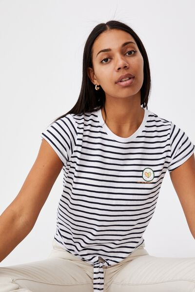 Tie Front Graphic Tee, SEE ME ROLLIN/MOONLIGHT WHITE STRIPE