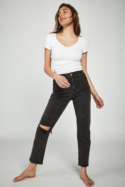 Stretch Mom Jean, SUPER WASH BLACK CUT