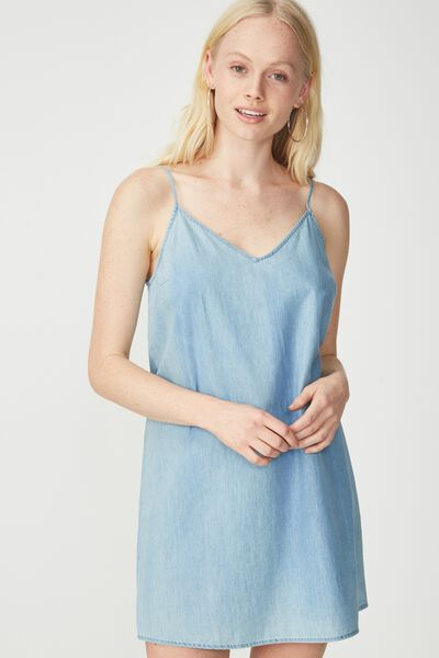 Woven Margot Slip Dress, CHAMBRAY