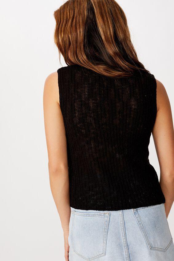 Slubby Summer Vest, BLACK