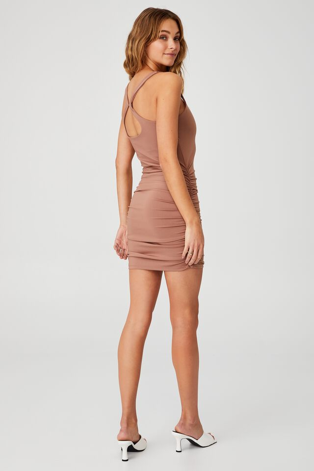 Day To Night Bodycon Ruched Mini Dress, COCOA BEAN