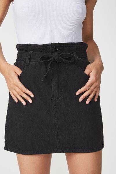 Paperbag Denim Skirt, BLACK