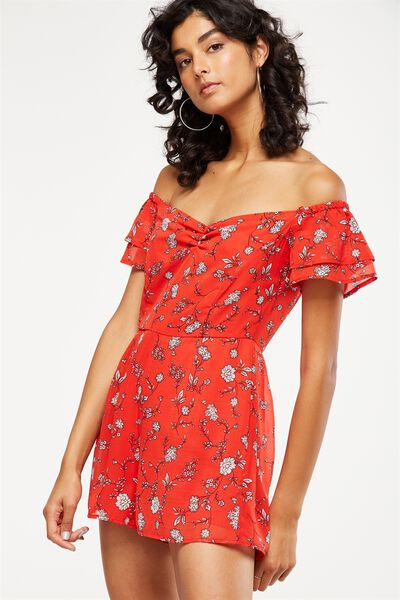 Woven Uma Off The Shoulder Playsuit, LOLA FLORAL FLAME SCARLETT