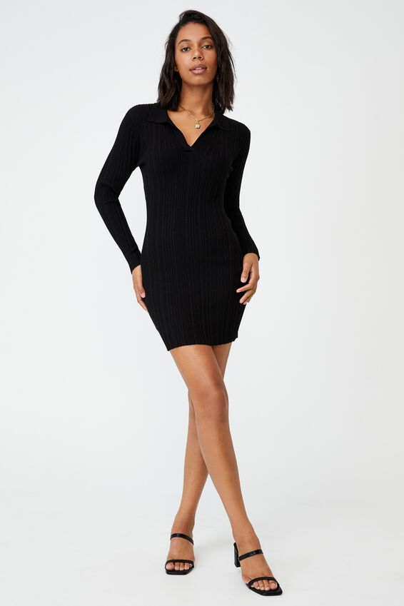 Nicola Knit Polo Long Sleeve Mini Dress, BLACK