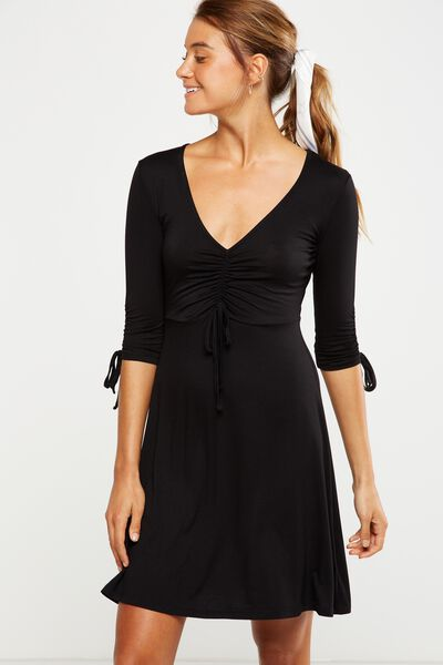 Carmel Rouched Fit Flare Dress, BLACK