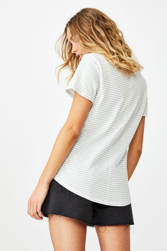 The One Fitted V Tee, JOSIE STRIPE WHITE/LUSH GREEN