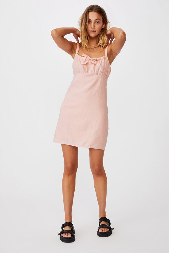 Woven Layla Tie Front Mini Dress, SUNSET PINK