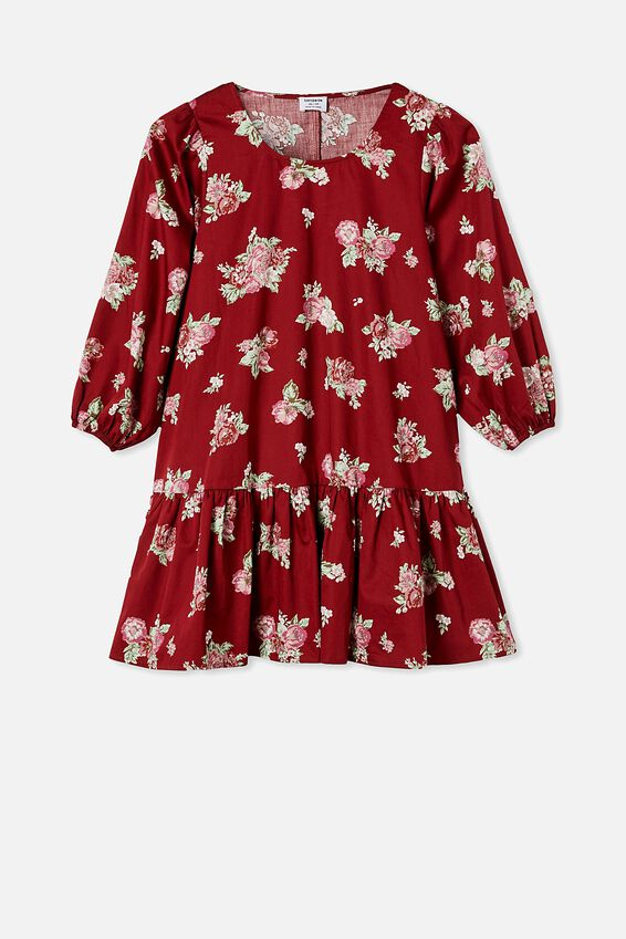 Woven Joselyn Long Sleeve Smock Mini Dress - Petit, KIRSTY ROSE SUNDRIED TOMATO